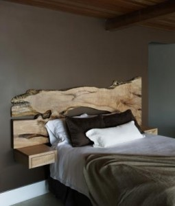 Natural wood headboard with eco finish, designed by the author